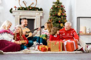 Christmas guitar playing