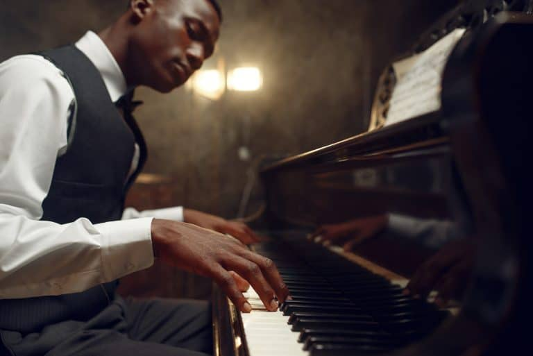 African grand piano players jazz performance in a club
