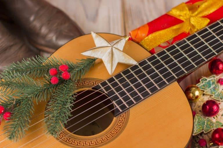 Classical guitar with Christmas decoration