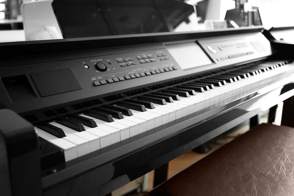 Digital piano in music shop
