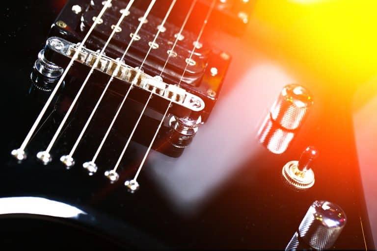 Electric guitar pickup closeup