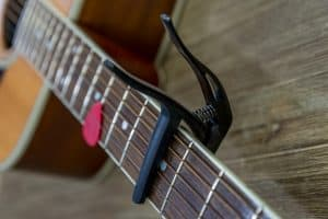 Guitar capo close up