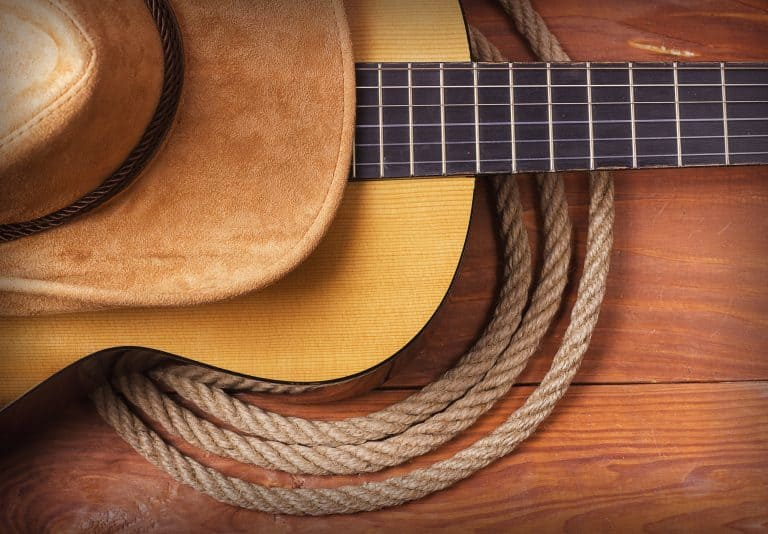 guitar with a cowboy hat and rope