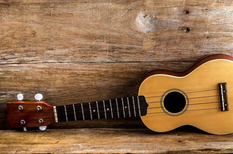 Left handed ukulele on a wood
