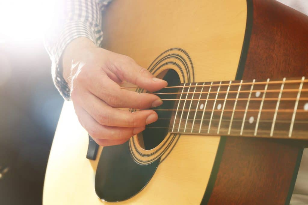 Man playing fingerstyle acoustic guitar