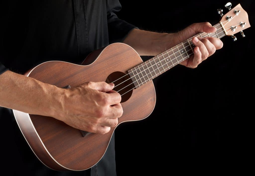 Playing a tenor ukulele