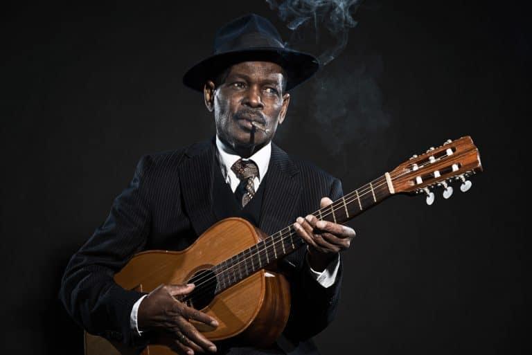 Retro senior afro american blues man.