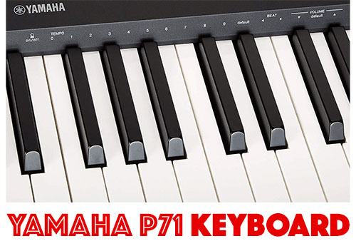 Close up of the Yamaha P71 88-keys weighted keyboard