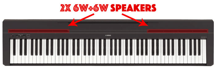 Yamaha P71 has two 6W+6W speakers